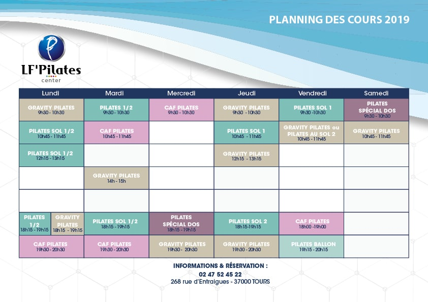 Planning LF Pilates Center Tours 2019 2020