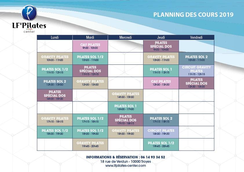 Planning LF' Pilates Center 2019 - 2020