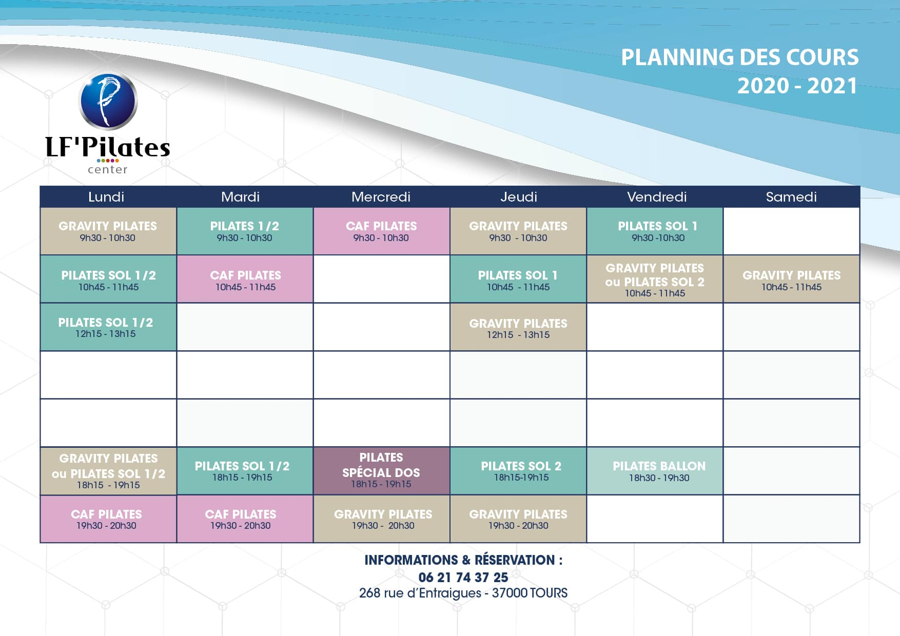 Planning LF' Pilates Center Tours 2020-2021